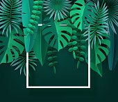 Tropical leaves and plants. Green abstract background with tropical foliage. Cut paper. Frame, Place for text. Vector illustration