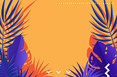 Tropical leaves of palm retro background design.