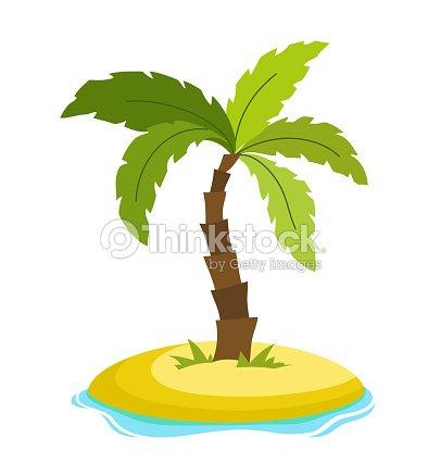 Palmeras Tropicales En La Isla Con La Ilustración De Vector De Ondas