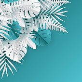 Tropical paper palm, monstera leaves frame. Summer tropical leaf. Origami exotic hawaiian jungle, summertime background. Paper cut style