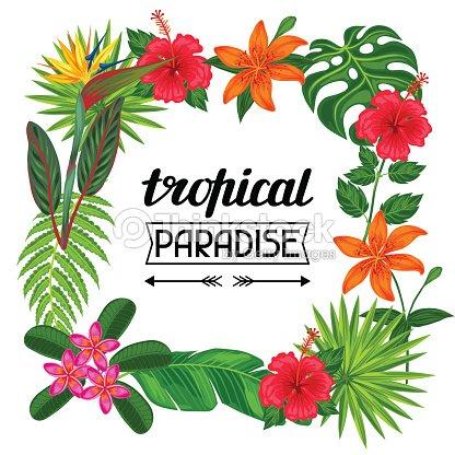 tropisches paradiesframe mit stilisierten bl tter und blumen bild f r vektorgrafik thinkstock. Black Bedroom Furniture Sets. Home Design Ideas