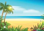 Tropical paradise island sandy beach, palm trees and sea. Vector cartoon illustration Hawaii