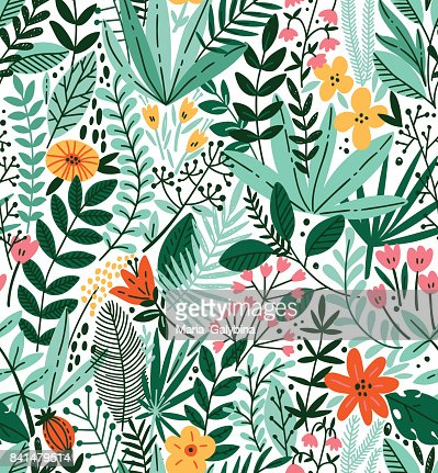 Tropical seamless floral pattern. Autumn vector illustration : stock vector