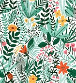 Tropical seamless floral pattern. Autumn vector illustration