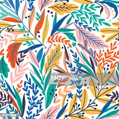 Tropical seamless leaves pattern. Vector illustration : Vector Art