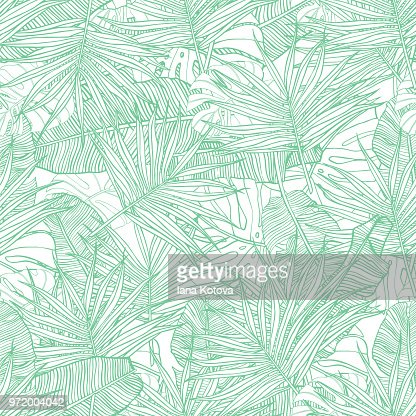 Tropical seamless pattern. Texture with banana leaves, palm and  monstera. Hand drawn illustration. Summer vector design. : stock vector
