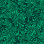 Tropical seamless pattern. Texture with banana leaves, palm and  monstera. Vector illustration.