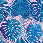 Seamless pattern with neon colored tropical exotic palm and monstera leaves on abstract pink blue style background. Fabric, wrapping paper print. Vector illustration stock vector.