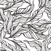 Tropical seamless pattern with nature leaf Hand drawn black art line sketch on white background. Vintage texture abstract wallpaper Wild jungle Graphic design for market packing, print vintage textile
