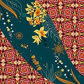 Tropical silk scarf with geometric motif