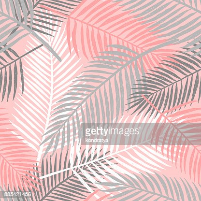 Tropical summer palm leaves seamless pattern. : stock vector