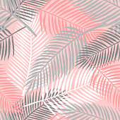 Tropical summer palm leaves background. Floral seamless pattern. Vector illustration