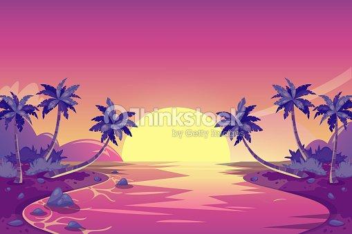 Atardecer De Verano Tropical Ilustración De Paisaje De Isla De