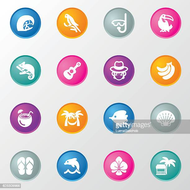 Tropical Vacations Circle Color Icons