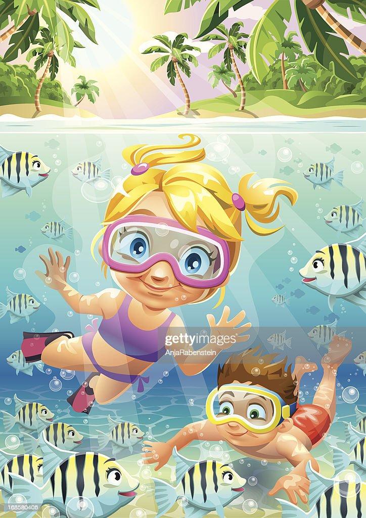 Tropical Vector Cartoon Underwater Scene with Boy Girl And Fish : Vector Art