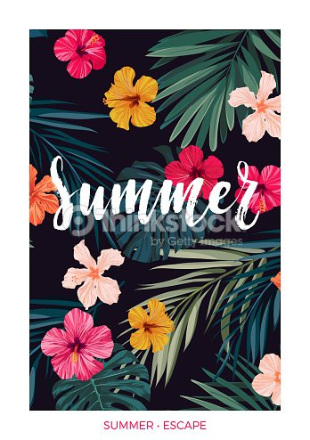 Tropical vector postcard design with bright hibiscus flowers, exotic palm leaves and lettering on dark background