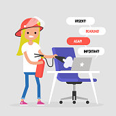 Troubleshooting, conceptual illustration. Young female character trying to extinguish a fire on her workplace / flat editable vector illustration, clip art