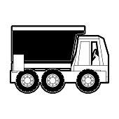 flat line monocromatic  truck rocker over background vector illustration