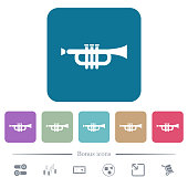 Trumpet white flat icons on color rounded square backgrounds. 6 bonus icons included