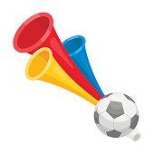 Trumpet football fan.Fans single icon in cartoon  vector symbol stock illustration.