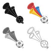 Trumpet football fan.Fans single icon in cartoon style vector symbol  illustration.