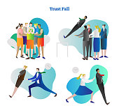 Trust fall vector illustration collection set. Various kinds of relying exercise. Team building and colleague cooperation in people group. Personality growth in risk, danger and outside comfort zone.