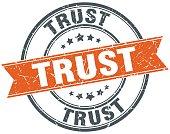 trust round grunge ribbon stamp