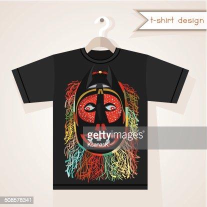T-Shirt Design With African Mask : Vector Art