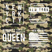 T-shirt design with camouflage texture. New York City typography with slogan for shirt print. Set of t-shirt graphic in street military style. Vector
