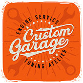T-shirt print with lettering text composition 'Custom Garage'