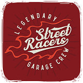 T-shirt print with lettering text composition 'Street Racers'