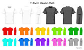 T-Shirt round neck color collection set for your design , mockup advertising , blank for printing , vector illustration , whit black grey red orange yellow green blue purple pink color