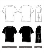 t-shirt template blank black white, front, back side, vector image