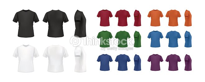 T Shirt Template Colorful Set Front Back And Side Views