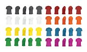 T-shirt template set of different colors, black, white, red, green, blue, orange, yellow, purple, blank shirts front, side, perspective, rear views, different angles, vector eps10 illustration isolate