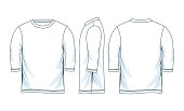 three quarter length sleeve shirts. front look side back, white color  vector design