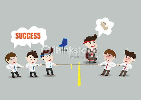 Tug Of War Teamwork To Successful Business Template Vector Art ...