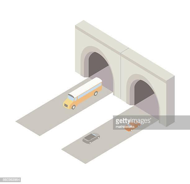 Tunnel entrance isometric illustration