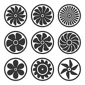 Turbines and Fan Icons Set. Turbojet Engine Power. Vector Illustration
