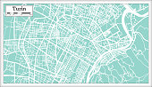 Turin Italy City Map in Retro Style. Outline Map. Vector Illustration.
