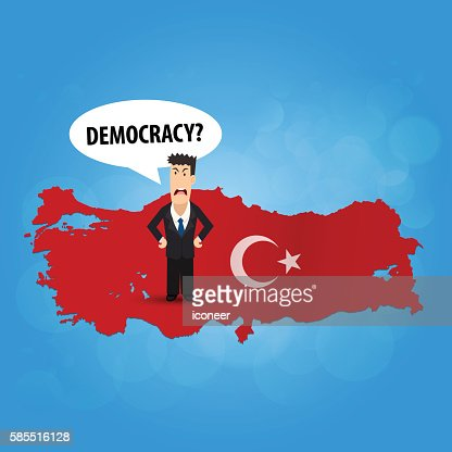 Turkey flag map with business man shouting democracy blue background : Vector Art
