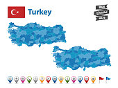 Turkey - High Detailed Map With GPS Icon Collection