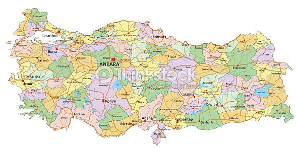 Turkey Highly Detailed Editable Political Map With Labeling Vector