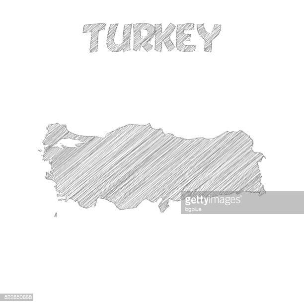 Turkey map hand drawn on white background