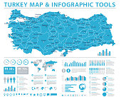 Turkey Map - Detailed Info Graphic Vector Illustration