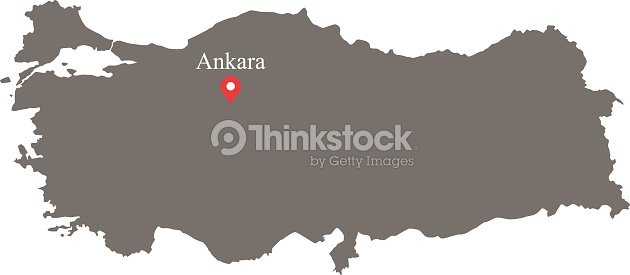 Turkey Map Vector Outline With Capital Location And Name ...