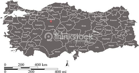 Turkey Map Vector Outline With Scales And States Or Provinces ...