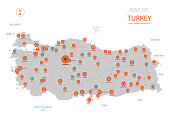 Stylized vector Turkey map showing big cities, capital Ankara, administrative divisions and country borders