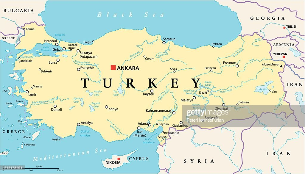 Turkey Political Map Vector Art Thinkstock