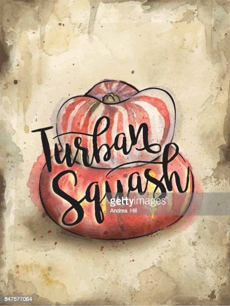 Turk's Turban Squash Painted in Watercolor on Rustic Brown Background. Vector EPS10